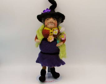 Felt wool witch in purple, Eulalie is a one of a kind handmade needle felted witch, soft sculpture witch collector doll Halloween decoration