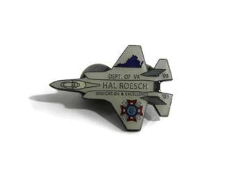 Department of VA Hal Roesch Dedication & Excellence 2008 + 2009 Military Fighter Jet Plane Enamel Pin
