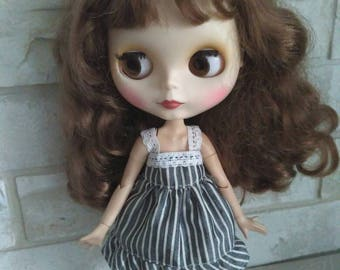 Blythe clothes Gray striped dress for Blythe