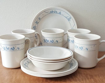 Corelle First of Spring Set of 13 Pcs:5 Bread & Butter Plates+5 C Handle Corning Mugs+3 Berry Bowls Ivory and Blue Flowers First Made in USA