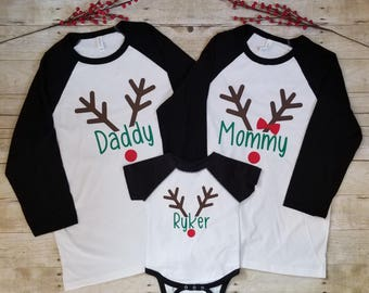 Matching Family Christmas Shirts, Reindeer Family, Personalized Shirts