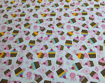 Cupcakes and Flowers Cotton Fabric from JoAnn Fabrics