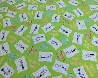 Diary of a Wimpy Kid-Green Cotton Fabric from Robert Kaufman