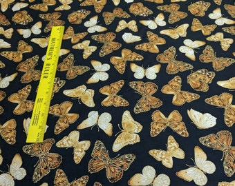 Forever Butterflies-Black and Gold-Cotton Fabric Designed by Maria Kalinowski for Kanvas Studios