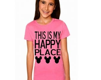 """Boys and Girls Disney Shirts """"This Is My Happy Place"""" with Mickey Mouse Heads  Perfect for trip to Disneyland or Disney World"""