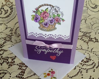 Pansies and Roses Sympathy Card, Sympathy Greeting Card, All Occasion Sympathy, With Heartfelt Sympathy Greeting Card, Sympathy Card