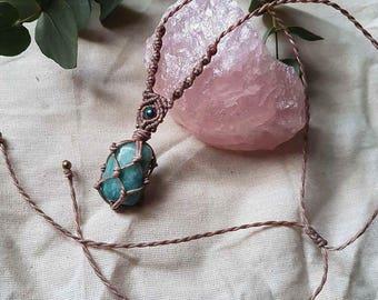 Amazonite crystal macrame necklace