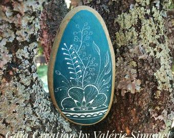 Pebble handpainted - Nature Blue 1
