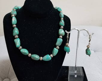 Restrung Vintage Old Turquoise Nugget and Sterling Silver 925 Beaded Southwest Necklace and Earring Set