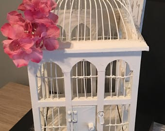 Shabby chic birdcage, white birdcage, cottage decor, vintage birdcage, wedding decor, outdoor wedding, shabby chic decor, domed birdcage