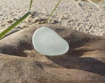 "Genuine Aqua blue green Perfectly smoothed flawless Sea Glass -Size 1.2""-Rare Sea Glass-Pendant size sea Glass#J115#"