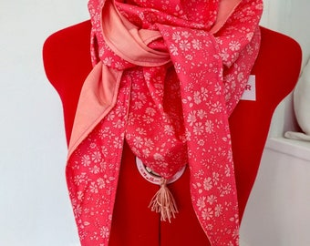 Liberty cotton triangle scarf, pink