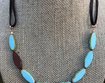 """Light Blue 20mm Czech Glass Flat Horse Eye Beaded Necklace on 1/8"""" Dark Brown Leather Cord"""