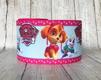 "3""  Paw Dog Animal Pet TV Cartoon Movie Girls Baby Cheer Hairbow Grosgrain Cheer Ribbon - Sold by 5 Yards"