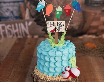 Fishing  First Birthday Cake Topper, Gone Fishing Topper, The Big ONE Cake Topper