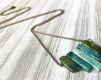 Agate Pendant Necklace // Long Necklace // Natural Stone Necklace // Moss Agate Necklace // Gift for Her // Boho Necklace // Green Agate