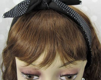 Black Polka Dot Non-Slip Bandana Hair Scarf with Beading and Clips, Good for Fine or Thinning Hair, Handmade #318