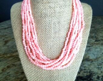 Coral pink necklace, pink necklace, coral necklace, coral pink beaded necklace, pink beaded necklace, coral, pink, pink and silver necklace