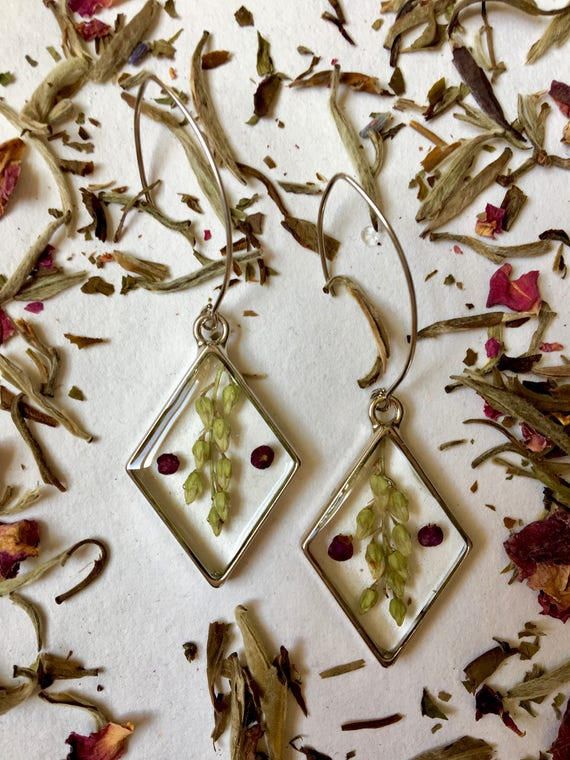 Andromeda flower bud and beautyberry earrings