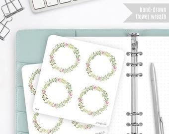 Flower Wreath Stickers, Watercolor Stickers - Journalspiration Bullet Journal Planner Stickers - FW13