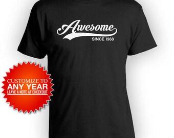 50th Birthday Shirt Bday Gift Ideas For Women Birthday Present For Him Custom T Shirt B Day Awesome Since 1968 Mens Ladies Tee - BG408
