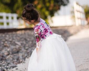White Flower Girl Tutu Skirt, Girl Toddler Shabby Chic Rustic Tulle Skirts, Tea Party Skirt, Junior Bridesmaid Skirt, First Communion Skirt