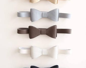 Youth Bow Ties - Leather - Bow Ties - Grey