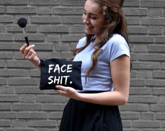 Make-up bag FACESHIT., cosmetic bag, funny, make-up tas, make up, organizer, mascara, travel, musthave, bestseller, personalize, custom
