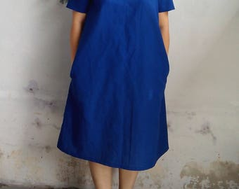 Linen Dress / Minimalist Linen Dress, Loose Fit Dress in Royal Blue
