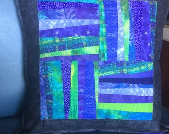 Quilted Pillow Cover, Colorful Pillow Cover, Decorative Pillow Cover, Home Decor Modern Purple Green Pillow Cover