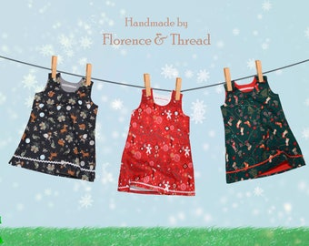 New girls handmade Christmas pinafores dress age 1-2 years