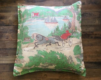 throw pillow | horse drawn buggy