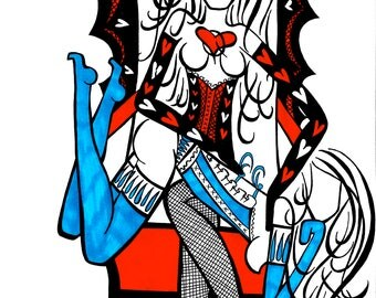 Naughty Alice How Dare You Paint My Roses Red, Alice and The Queen Of Hearts, Alice In Wonderland