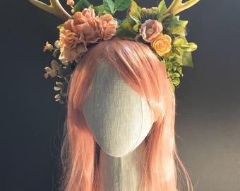 Blushy Pink Floral Antler Headband