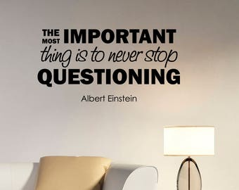 The Most Important Thing Albert Einstein Quote Wall Sticker Education Motivational Saying Decal Vinyl Lettering Home Scientist Decor eq2