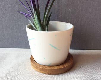 Round Hand-painted Ceramic Succulent Air Plant Planter Holder