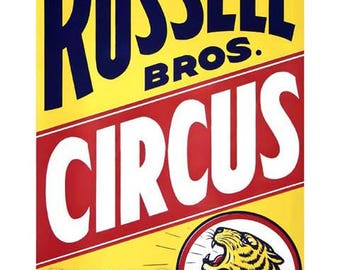 Circus Tiger Vintage Advertising Poster Art - Vintage Print Art - Home Decor - Russell Bros.
