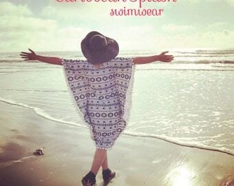 Ready to SHIP! SwimDress kaftan coverup beach dress Boho style (XS)