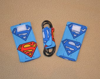 Superman Cord wrap organizers for chargers & other electronic cords