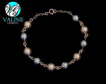Silver 925 pearls bracelet blue/white