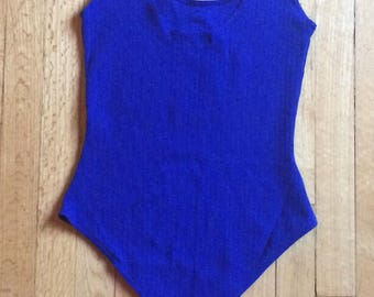 Blue Ribbed Bodysuit//1990s tank top//90s bodysuit//Bodywear bi energie//Size Medium// Vintage Sportswear//90s athletic casual//retro tank