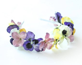 Viola Floral Crown, Boho Flower Crown, Flower Halo, Flower Girl Crown, Bridal Flower Crown, Wedding Floral Hair Wreath