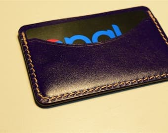 Purple Kangaroo Leather Card Wallet, Slim Card Wallet, Leather Card Wallet, Personalised