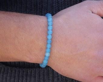 Men's Bracelet Blue Agate Mens Beaded Bracelet Blue Matte Agate  Bracelet    Gift