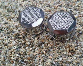 """7/8"""" (22mm) Shimmer Hexagon Double Flare Plugs"""