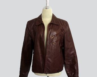 Vintage women's leather brown jacket // Vintage leather jacket // 80s