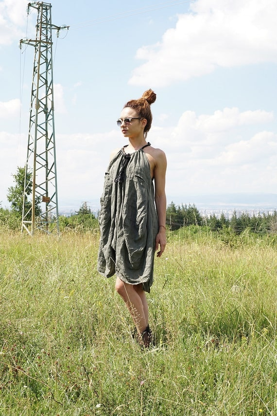 Linen Loose fit Summer Dress, Asymmetric Oversized Dress, Ethno Robe Striped Halter Dress, Boho Robe Neck Dress, XXXL Plus Size Dress