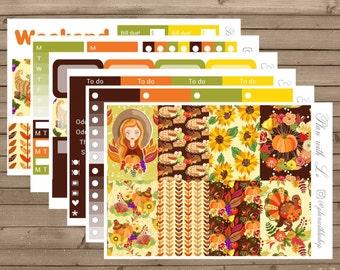 Thanksgiving Sticker Kit   Happy Planner Sticker Kit   Fall Sticker Kit   6 Page Sticker Kit   Weekly Sticker Kit