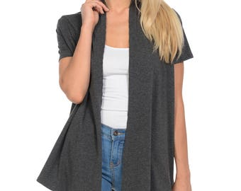 Short Sleeve Open Front Vest Charcoal