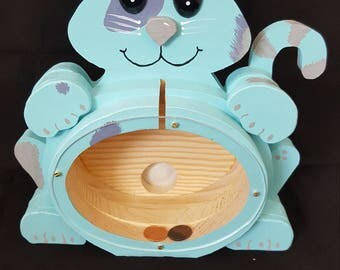 Cat Bank in light blue with silver to gray accents made from solid pine wood